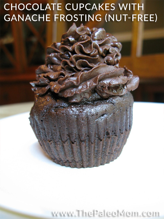 Chocolate Cupcakes with Ganache Frosting (nut-free)