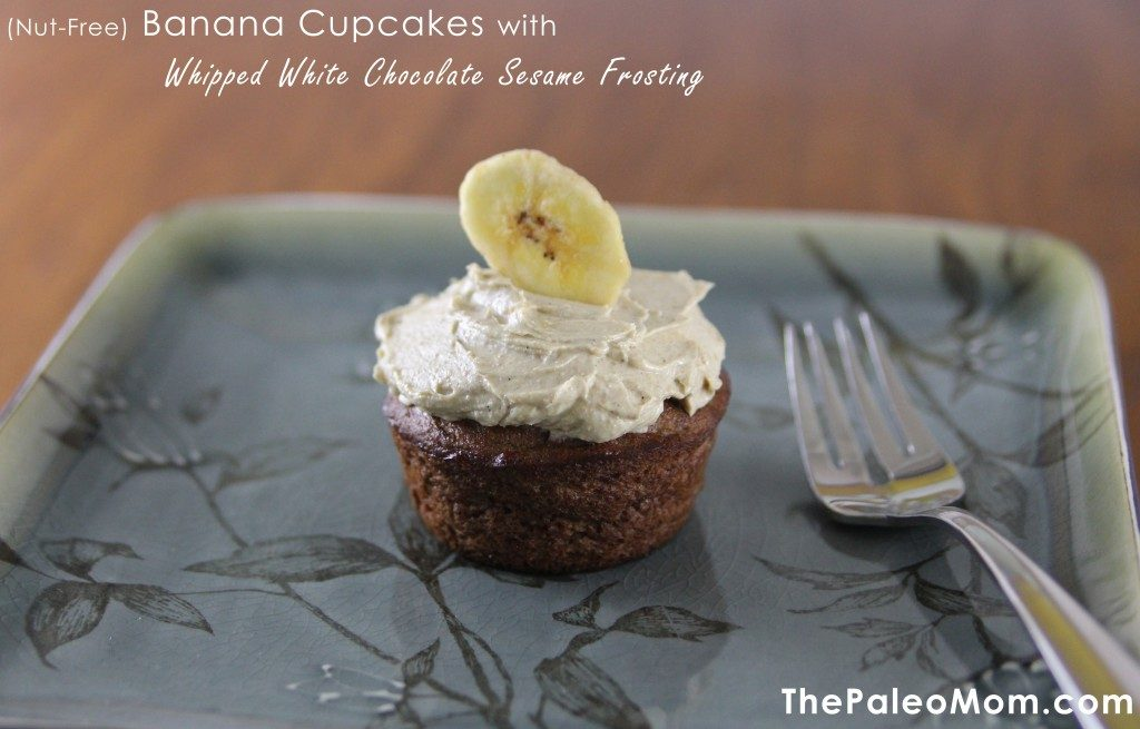 Nut-Free Paleo Banana Cupcakes with Whipped White Chocolate Sesame Frosting | The Paleo Mom