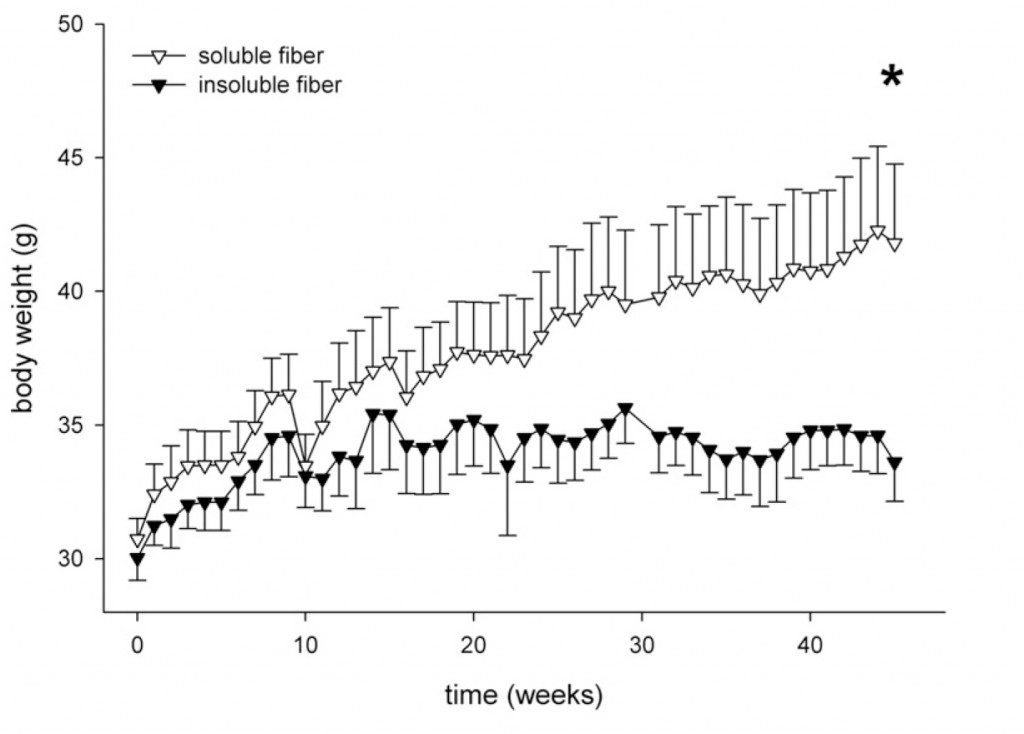 Isken F, et al, Effects of long-term soluble vs. insoluble dietary fiber intake on high-fat diet-induced obesity in C57BL/6J mice. J Nutr Biochem. 2010 Apr;21(4):278-84.