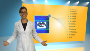 Sarah foreground with meal nutrition facts (green screen)