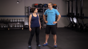 Sarah talks with Charles (workout)