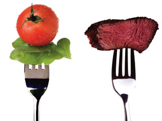 vegetables versus meat on forks