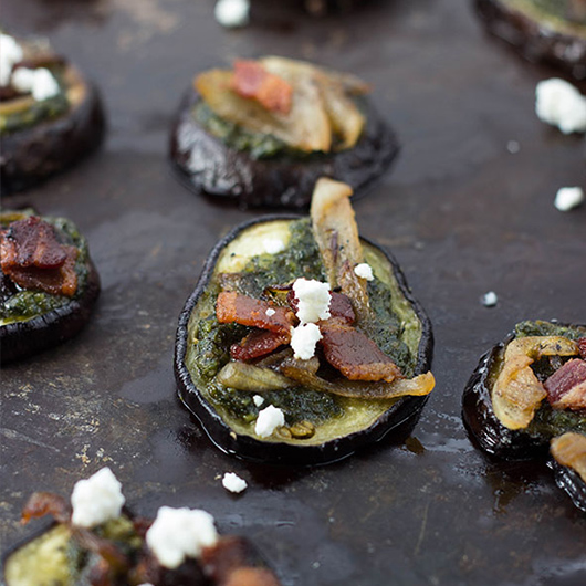 pesto eggplant pizza bites