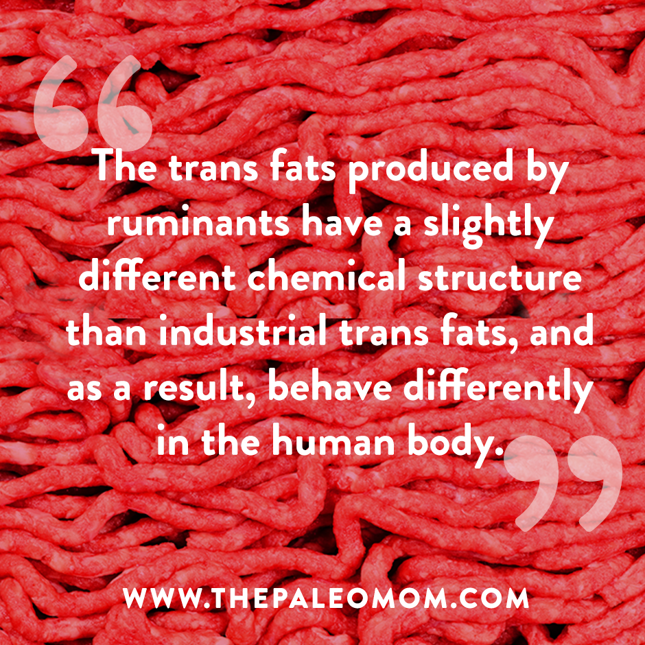 The trans fats produced by ruminants have a slightly different chemical structure than industrial trans fats, and as a result, behave differently in the human body