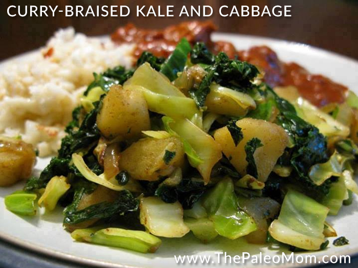 Curry-Braised Kale and Cabbage
