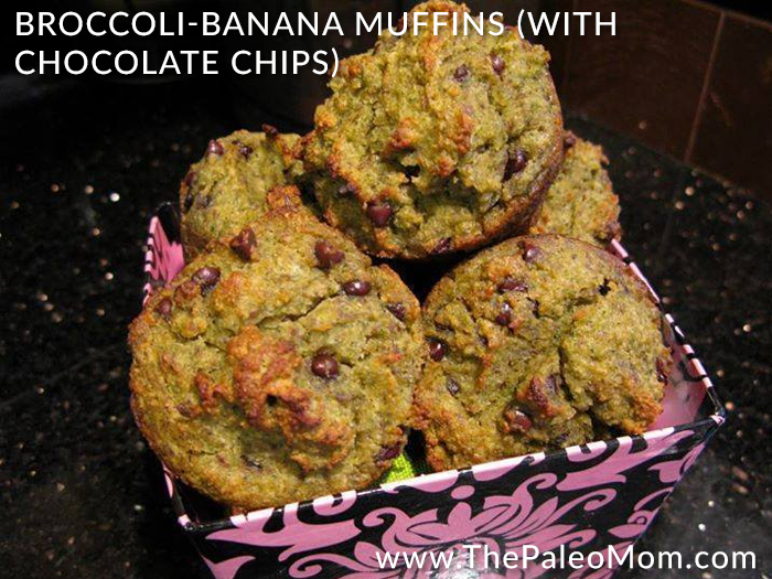 Broccoli-Banana Muffins with chocolate chips