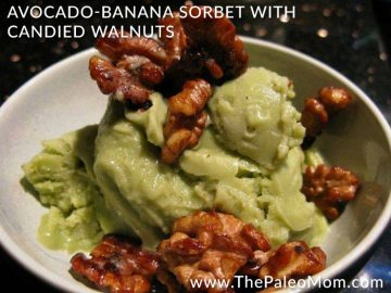 Avocado Banana Sorbet with Candied Walnuts