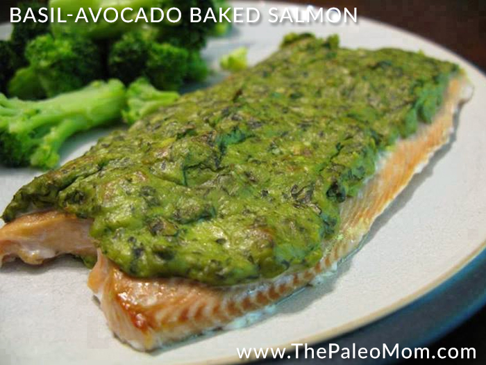 Basil-Avocado Baked Salmon