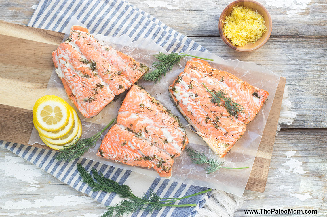 Lemon-Dill Poached Salmon Aerial View