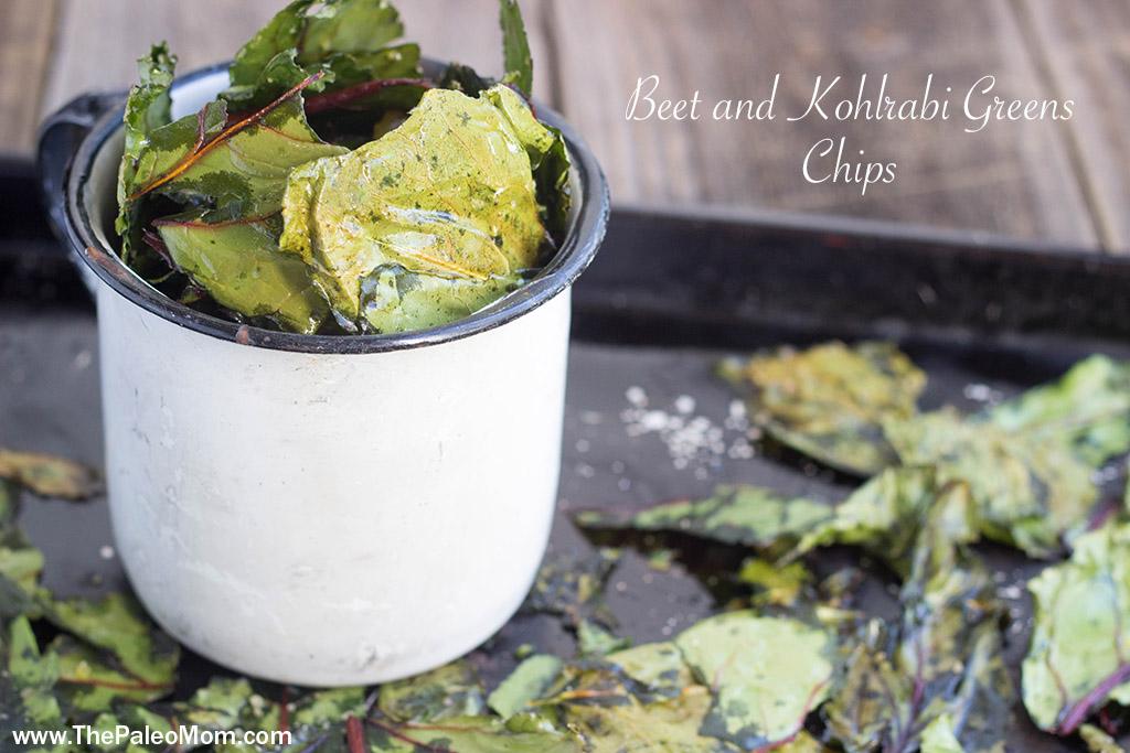 Beet and Kohlrabi Greens Chips