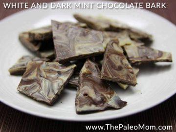White and Dark Paleo Mint Chocolate Bark