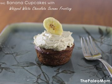 Banana Cupcakes (nut-free) with Whipped White Chocolate Sesame Frosting