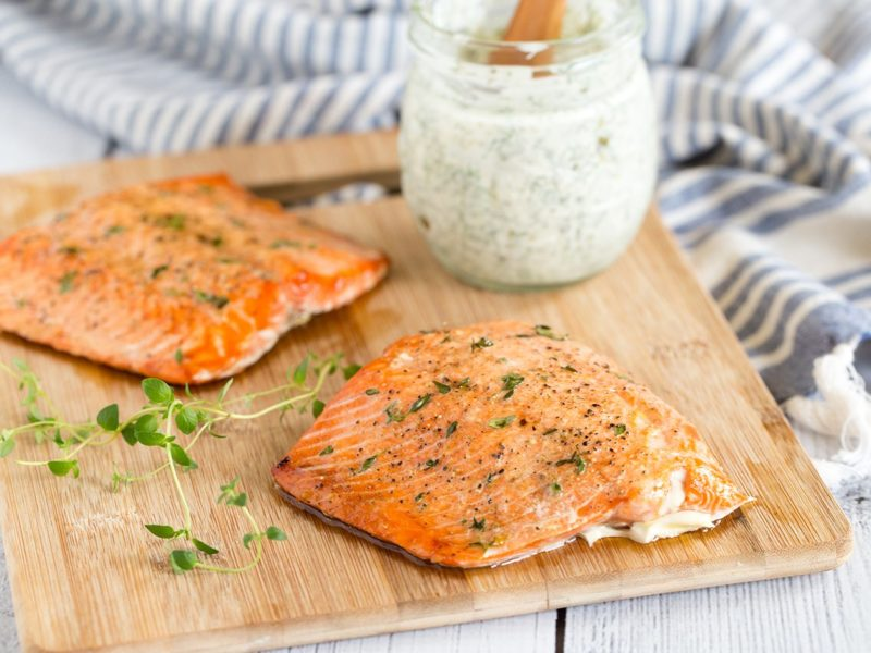 Broiled Salmon with Dill Caper Sauce