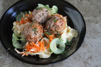 Guest Post by Denise – Banh Mi inspired Meatballs over Cucumber Noodles