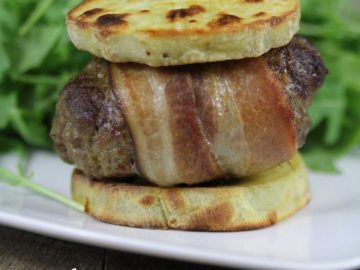 "Bacon-Wrapped Curry Burgers (nightshade-free) with Sweet Potato ""Buns"""