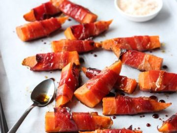 Guest Post by Lisa Bryan – Prosciutto-Wrapped Sweet Potatoes with Maple Balsamic Glaze