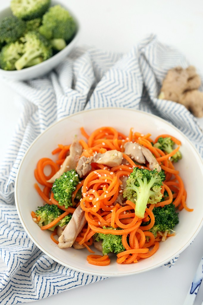 ... – Sesame-Ginger Garlic Chicken and Broccoli Carrot Noodle Stir Fry