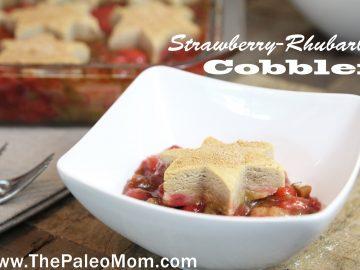Strawberry-Rhubarb Cobbler close up