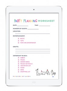 party planning worksheets