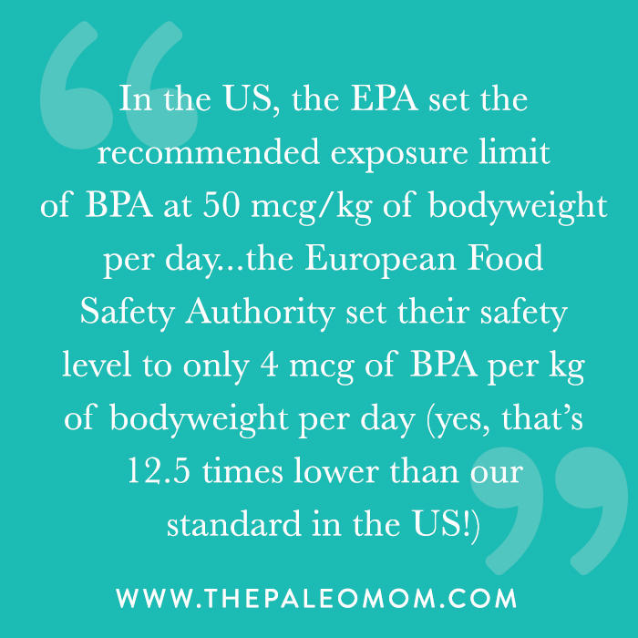 Europe's recommended exposure limit of BPA is 12.5 times lower than the USA.