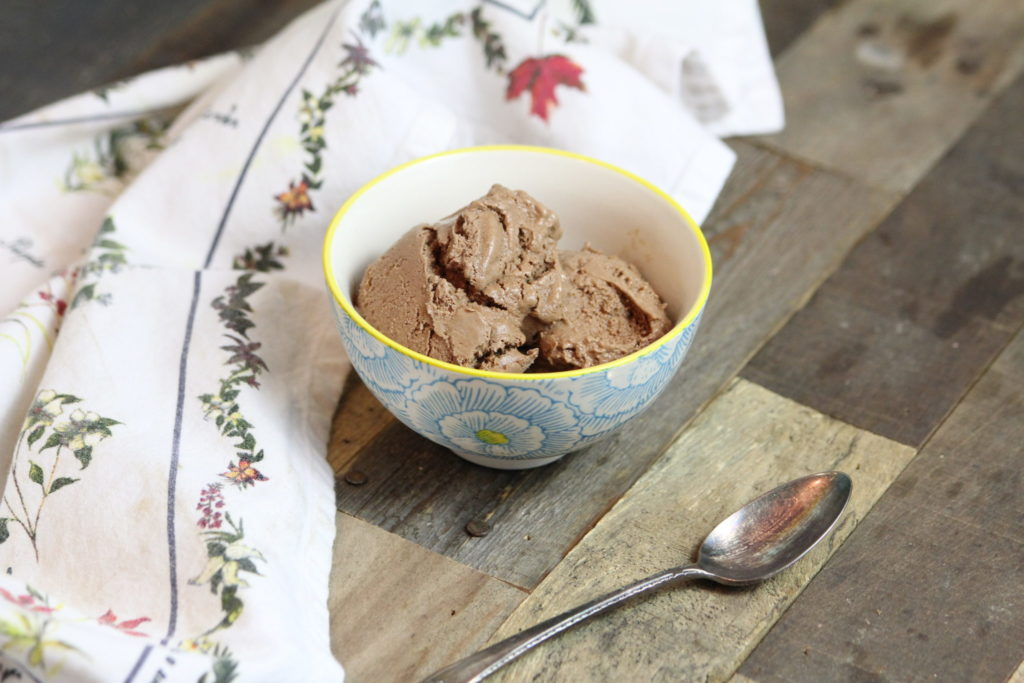 this dairy-free chocolate ice cream uses dates as a sweetener and for great texture