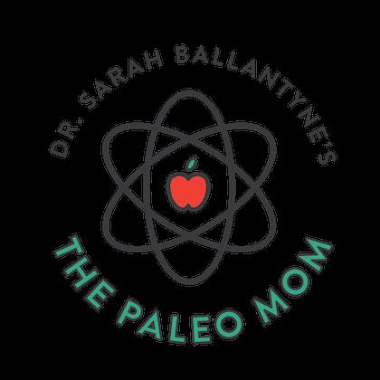 The PaleoMom circular atom logo