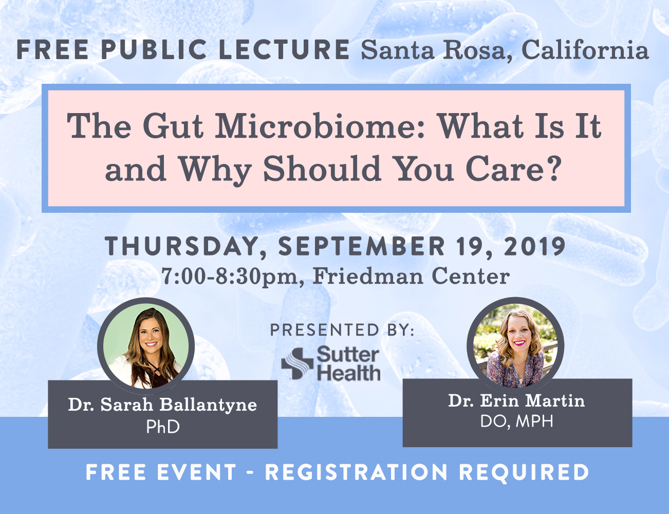 Free Public Lecture on the Gut Microbiome – September 19